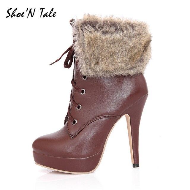 Shoe'N Tale New Thin High Heels Short Platform Boots For Women ...