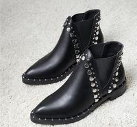 Pointed rivet booties Europe and the United States Fan thick with elastic belt boots comfortable wild women's shoes autumn and w