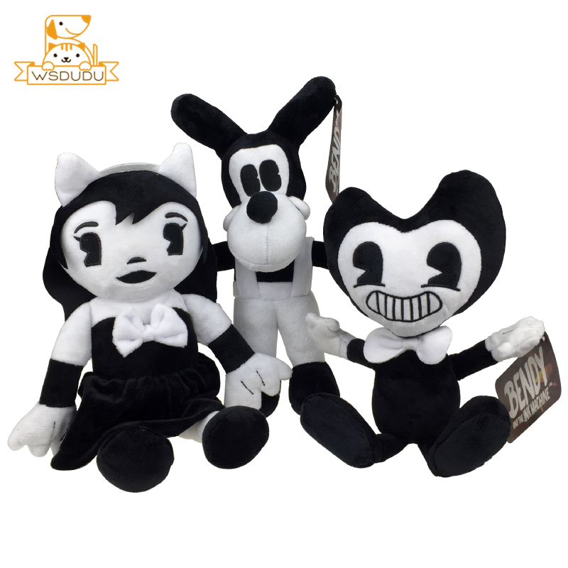 Kawaii Bendy Cartoon Plush Stuffed Wolf Boris Angel Girls Alice Baby Dolls Figure Cute Anime Pillow Ink Soft Toys Children Gifts