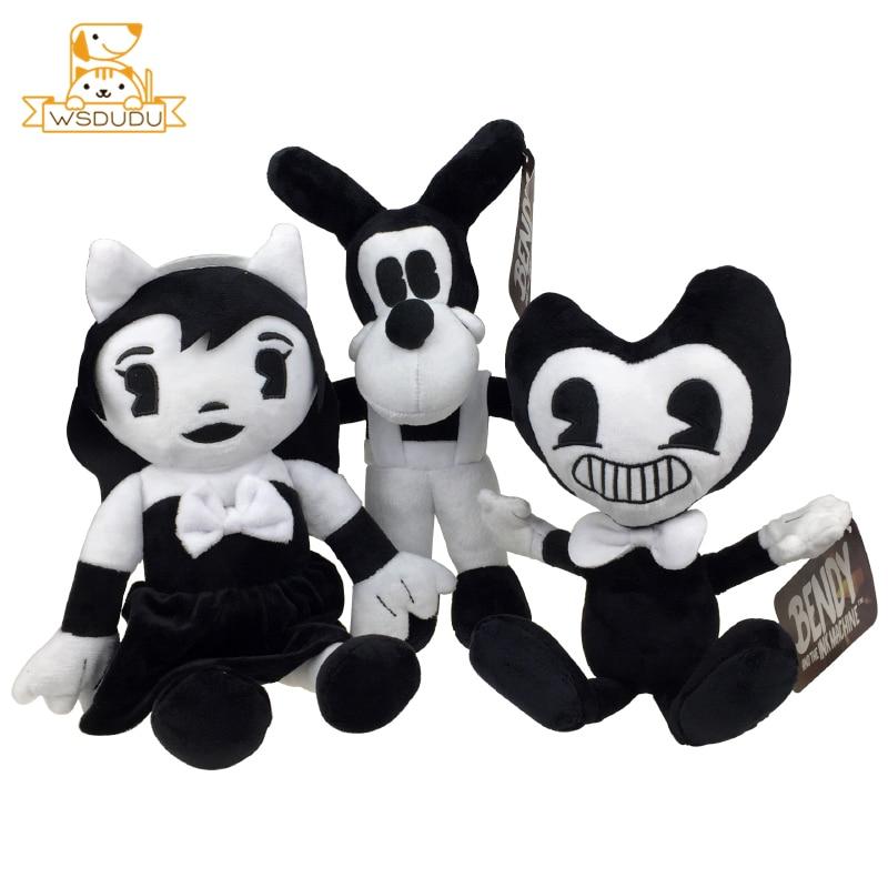 Kawaii Bendy Cartoon Plush Stuffed Wolf Boris Angel Girls Alice Baby Dolls Figure Cute Anime Pillow Ink Soft Toys Children Gifts