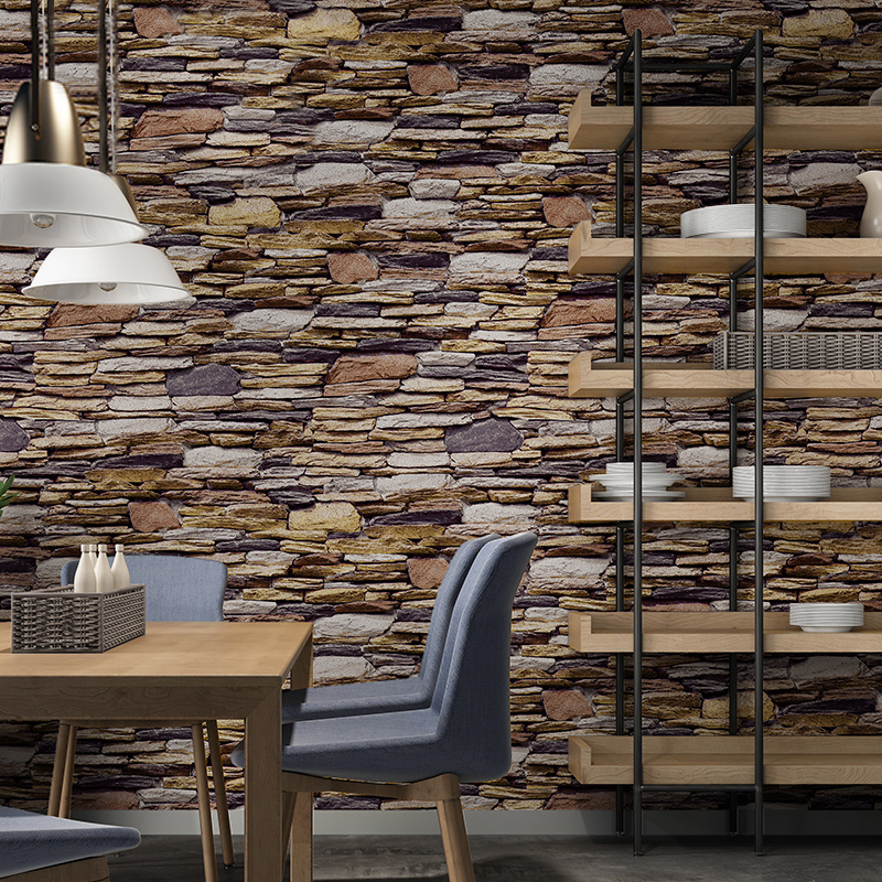 Vintage 3D Brick Stone Vinyl Wall Paper Rolls Faux Stone Wallpaper For Restaurant Cafe Wall Decor Wallpapers For Living Room wall art vintage stone brick tapestry for bedroom