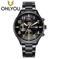 ONLYOU Sport Design Stainless Steel Band Watches Men Top Brand 2017 NEW Mens Luxury Clock Analog Quartz Wrist Watches Wholesale