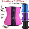 AJ2238 Popular Bodyshaper 9 Steel Bones Latex Corsets Waist Trainer Rubber Waist Cincher Corset Slim Rubber Shapewear