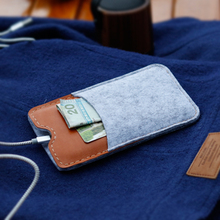 SYHBAN Handmade for iPhone case for iPhone 7 / 6s wallet case cover – 100 % wool felt, pure vegetable tanned leather sleeve