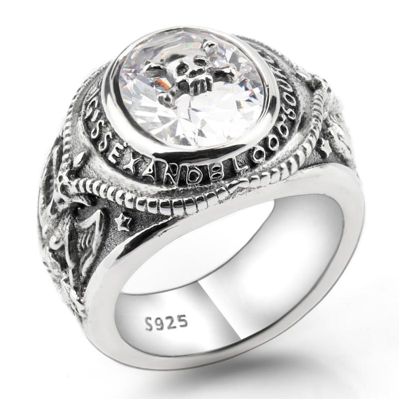 925 Sterling Silver Vintage Skeleton Skull 30g Men Ring with Clear CZ Portrait Meditation Biker Ring