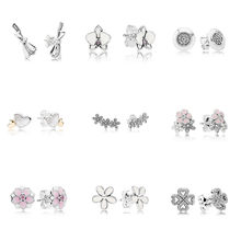 9 Style 1 Pair Women Ear Studs Flower Heart Crystal Diy Earrings High Quality Earring with Women Wedding Jewelry(China)