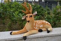 Large 85cm Simulation Sika Deer Plush Toy Prone Deer Plush Doll Soft Throw Pillow Birthday Gift