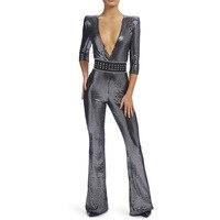 DEIVE TEGER 2019 New Summer Bodycon Women V Neck Rompers Bodysuit Full Length Boot Cut Celebrity Party Bandage Jumpsuit HL4853