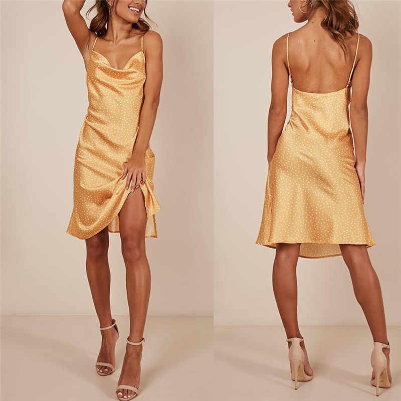 Sexy femmes dames robe d'été Fit et Flare sans manches à bretelles col en v robe d'été dos nu fronde genou longueur femmes robes