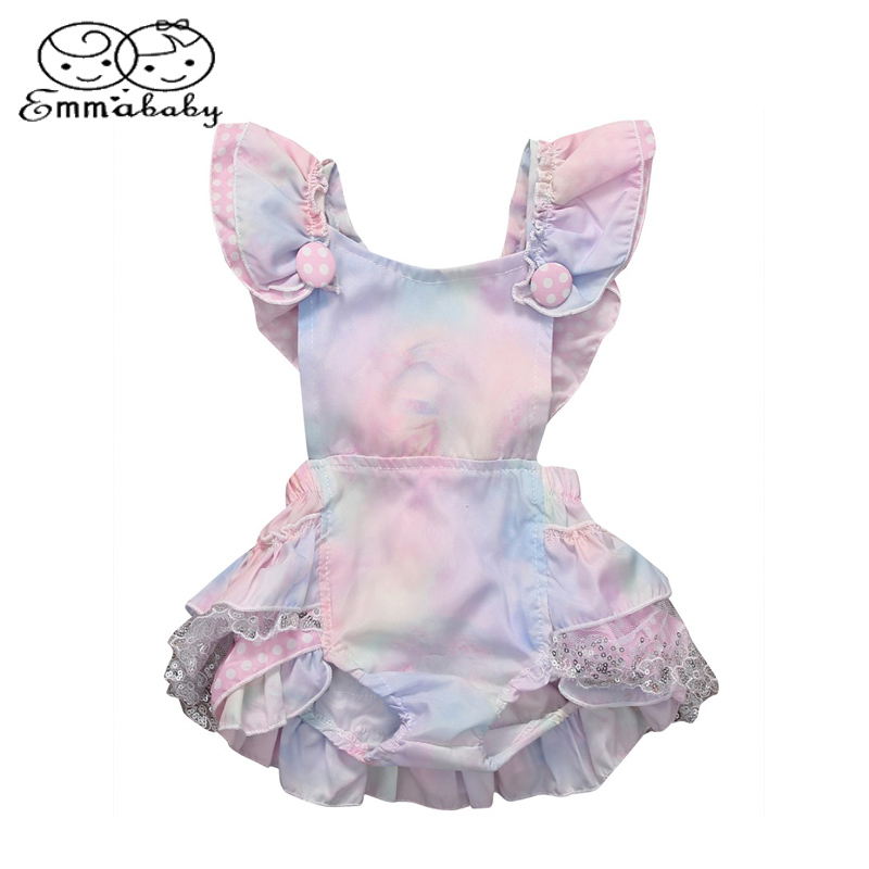Emmbaby Lovely Infant Baby Girl Floral Ruffled Sleeveless Romper Jumpsuit Lace Kids Clothing Outfit Sunsuit Clothes ...