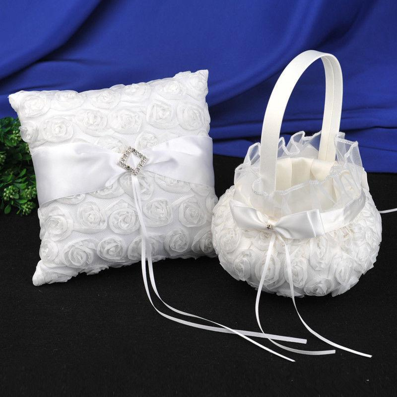 Wedding Supplies Ring Pillow & Girl's Flower Baskets Sets Wedding Party White 3D Roses Lace Ceremony Petal Storage
