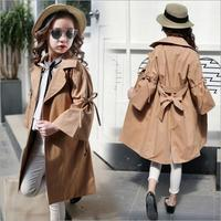 Fashion Girls Windbreaker 2018 Spring Autumn New England Style Long Jacket Children S Butterfly Belt Outerwear