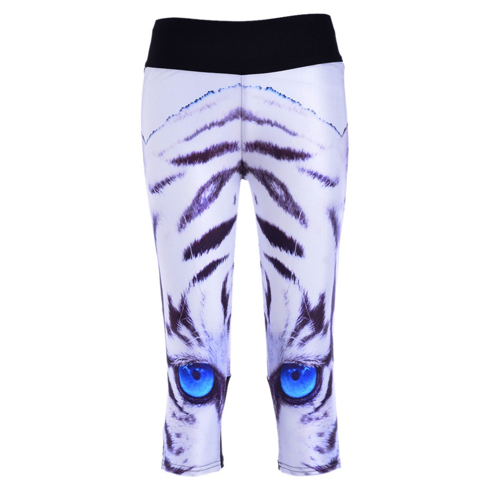 New 1140 Sexy Girl Women White Tiger Stripe 3D Prints Workout stretch font b Fitness b