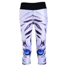 New 1140 Sexy Girl Women White Tiger Stripe 3D Prints Workout stretch Fitness Elastic Cropped Trousers Leggings Pocket Pants