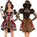 De las mujeres Traje Red Queen of Hearts Alice In Wonderland Vestido de Lujo Del Traje de Halloween para Las Mujeres Del Partido de Cosplay Disfraces Para Adultos