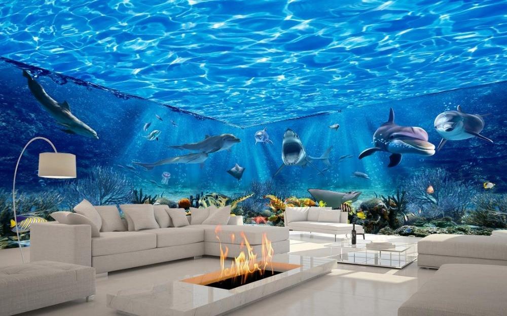Custom photo wallpaper sea world theme beautiful dream for Mon salon en 3d