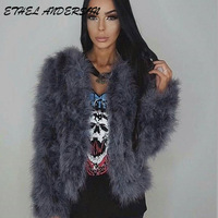 2017 Spring Sexy Fashion Ostrich Feather Coat Short Jackets For Women Grey Coat Real Ostrich Wool