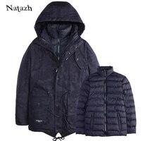 Natazh 2017 جيش طويل رجل مبطن ستر الشتاء معطف سميك سترة مع بطانة انفصال معطف الريح الذكور 2 قطعة سترة