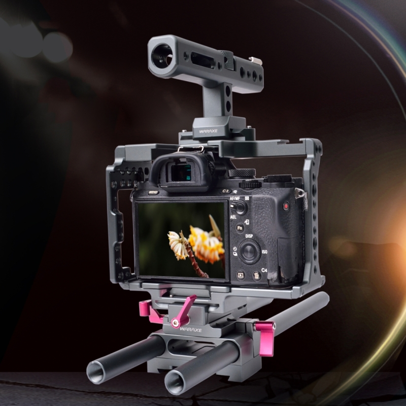 WARAXE 2798 Quick Release SmallRig Camera Kits with Camera Cage & Handle & Rods for Sony A7 & A7S & A7R & A7R II & A7S II
