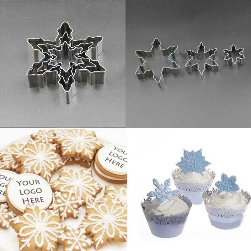 3 Unids/set Snowflake Cortadores de Galletas de Acero Inoxidable Molde de Pastel