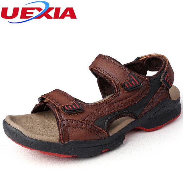 Uexia Summer Fashion Beach Dress Men S Shoes Sandals Flats High Quality Leather Casual Breathable Handmade Footwear