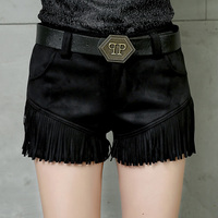 2018 New Thickened Autumn And Winter Boots Black Fringed Shorts Women Slim European And American Fashion Cashmere Casual Shorts