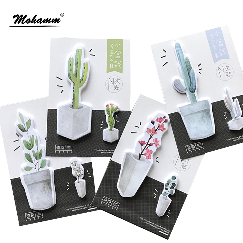 30sheets Cute Potted Plants Notebook Memo Pad Self-Adhesive Sticky Notes Office School Supply Post It Memo Pad Kawaii Stationery