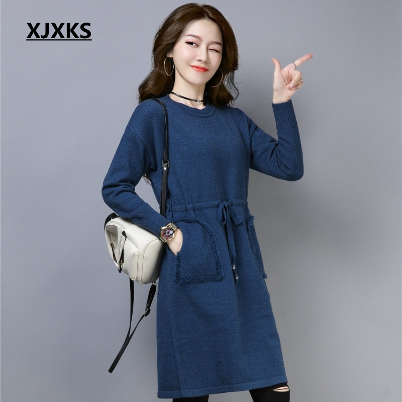 0f3806f3258 XJXKS High Quality New 2018 Young Ladies Clothing Dress Knitting High-end  With Sashes Loose