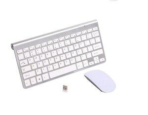 2,4G Ультра-тонкий шоколадный ключ Беспроводная клавиатура мышь комбо для Apple стиль Mac Pc WindowsXP/7/8/10 ТВ коробка русская наклейка