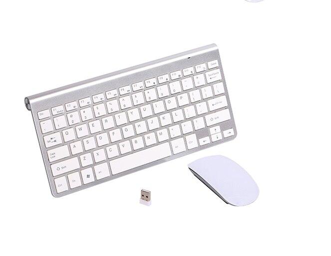 2.4G Ultra-mince chocolat clé sans fil clavier souris Combos pour Apple Style Mac Pc WindowsXP/7/8/10 Tv Box autocollant russe