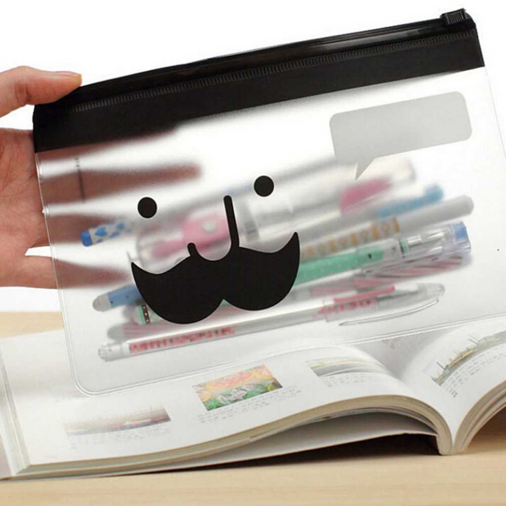 Transparent Mustache Portable Makeup Cosmetic Bag Case Pocket Pounch 135*205mm