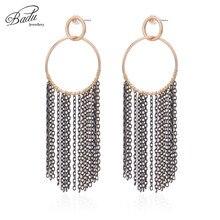 Badu Long Chain Tassel Earring Round Circle Pendant Dangle Drop Earrings for Women Fashion Jewelry Christmas Wholesale