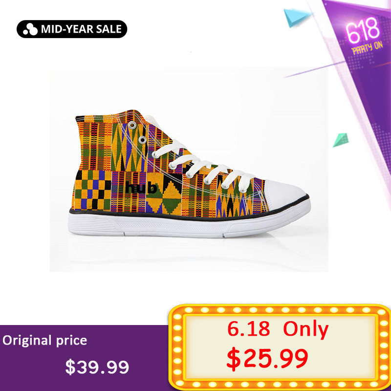 ELVISWORDS Cool Dashiki Africano Estilo dos homens High Top Canvas Shoes Lace-up Flats Outono Nova Moda Sapatos Vulcanize tamanho 35-45