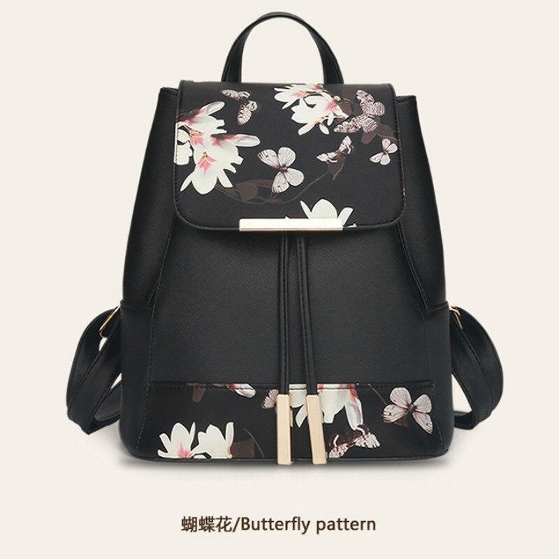Double épaule mode femmes sacs Floral femme sac à dos avec impression de fleurs