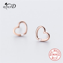 Romad 925 Sterling Silver Jewelry Earring for Women Fashion Cute Tiny 8mmX7mm Hollow Heart Stud Earrings Gift For Lady