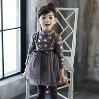 Boa qualidade do bebê do inverno da menina de algodão vestido de princesa mais grossa de veludo de manga comprida vestido de gola alta com colar livre shiping