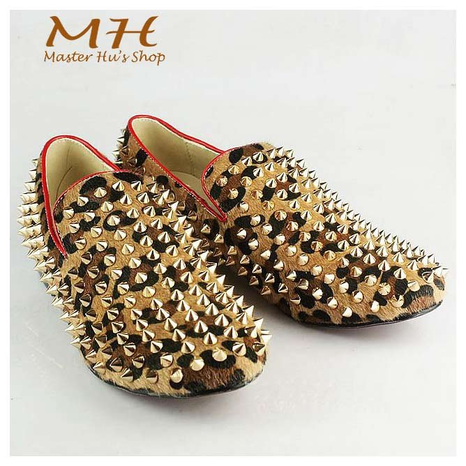 948b9c68da2 Rollerboy Spikes Loafers Tiger Print Silver Studded Men Shoes