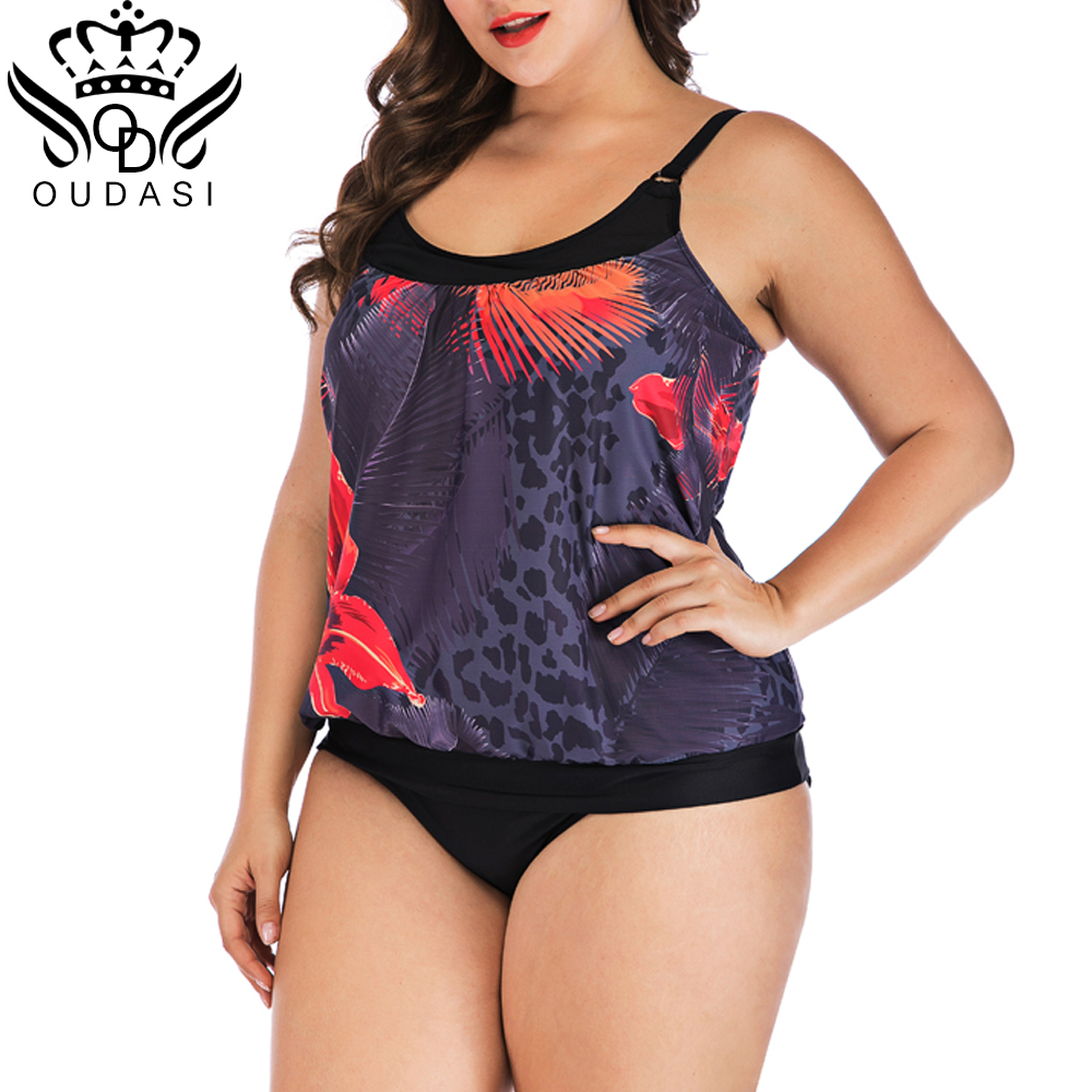 Womens Floral High Waist Tankini Set Padded Swimsuit Swimwear Bathing Beachwear