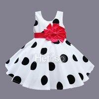 6 M-5 T בגדי תינוקת נקודה שחורה אדום נסיכת קשת גדולה ילדים בנות בגדי תינוקות קיץ vestidos infantis
