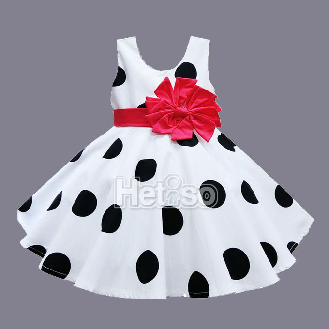 6M 5T Baby Girl Clothes Black Dot Red Big Bow Princess summer baby dress kids clothes