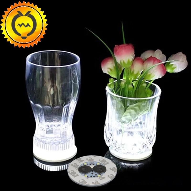 1pc LED Bottle Light Stickers Party MinI Bar Club Wine Glass Vase Decoration LED Bottle Glorifier Mini Light LED Coaster Cup Mat