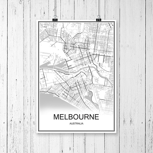 Melbourne Australia World Map.Us 1 99 Melbourne Australia World City Map Print Poster Abstract Coated Paper Bar Cafe Living Room Home Decoration Wall Sticker 42x30cm In Wall