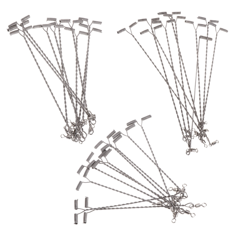 10pcs Fishing Wire Arm With Swivel T Shaped Stainless Steel 912