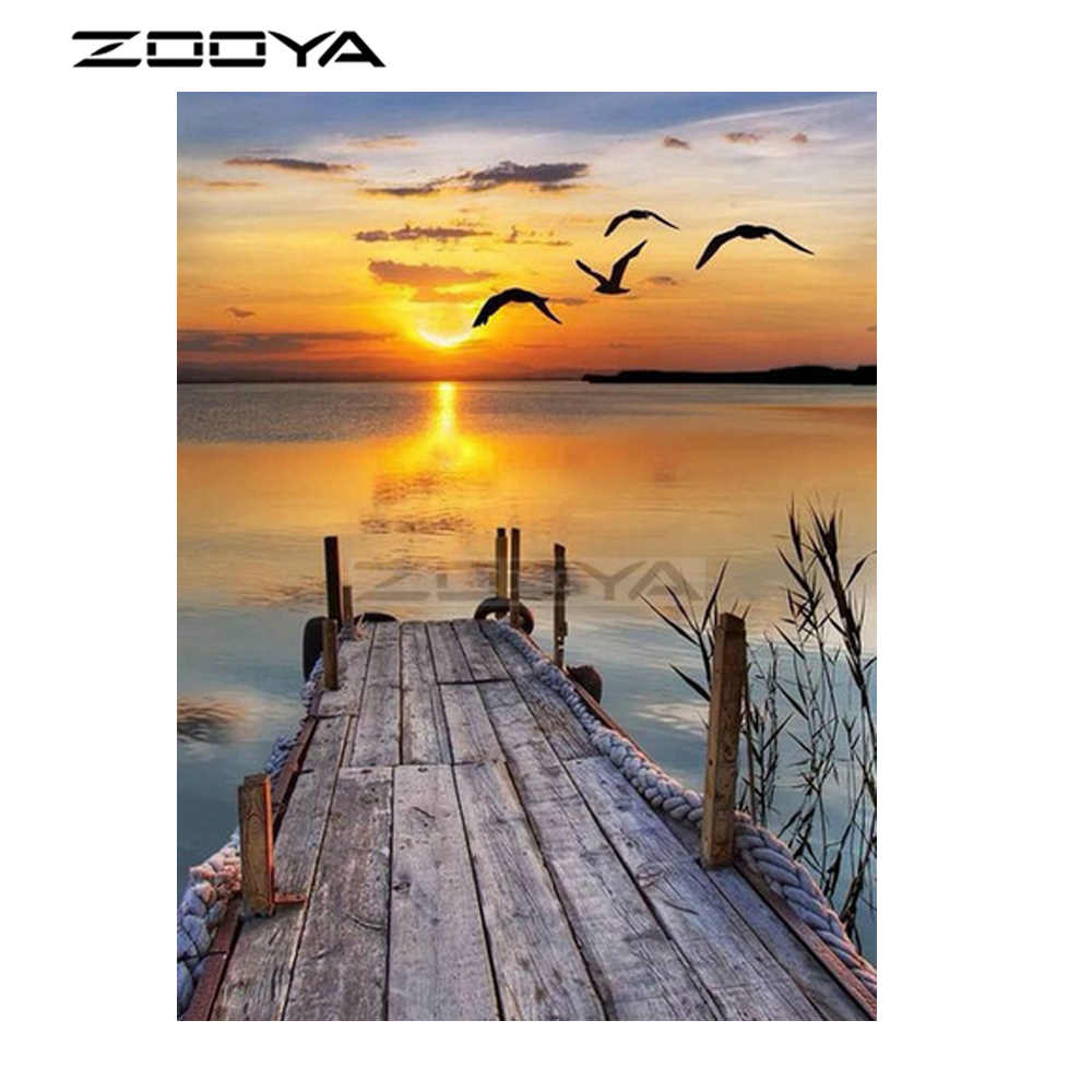 ZOOYA 5D Diamond Painting Sunset Scenery Diamond Arts Cross Stitch Diamond Embroidery Rhinestones Round Drill Needlework R3019