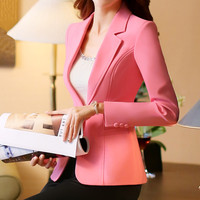 Plus Size 4XL Spring Jacket Female Coats Blazer Feminino Long Sleeve One Button Women Small Suit