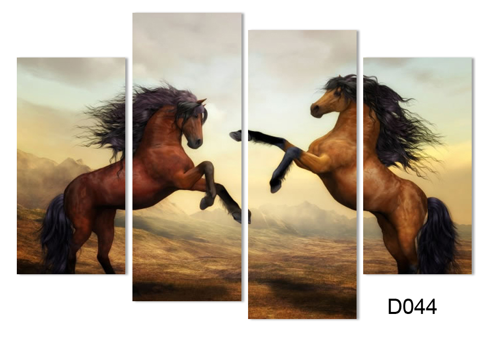 4 PieceS running horse Painting Modern Wall Painting Home Wall ...