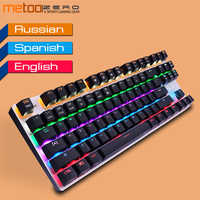 Metoo Original Gaming clavier mécanique LED rétro-éclairé 87/104 touches rouge/bleu/noir interrupteur métal Anti-fantôme clavier filaire + cadeau