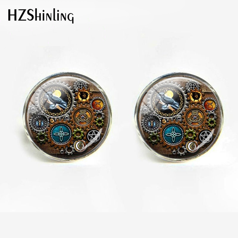 2019 Gothic Marvel Witches Steampunk Inspired Men's Shirts Jewelry Glass Wristband Cabochon Cufflinks Statement Trinket Badges