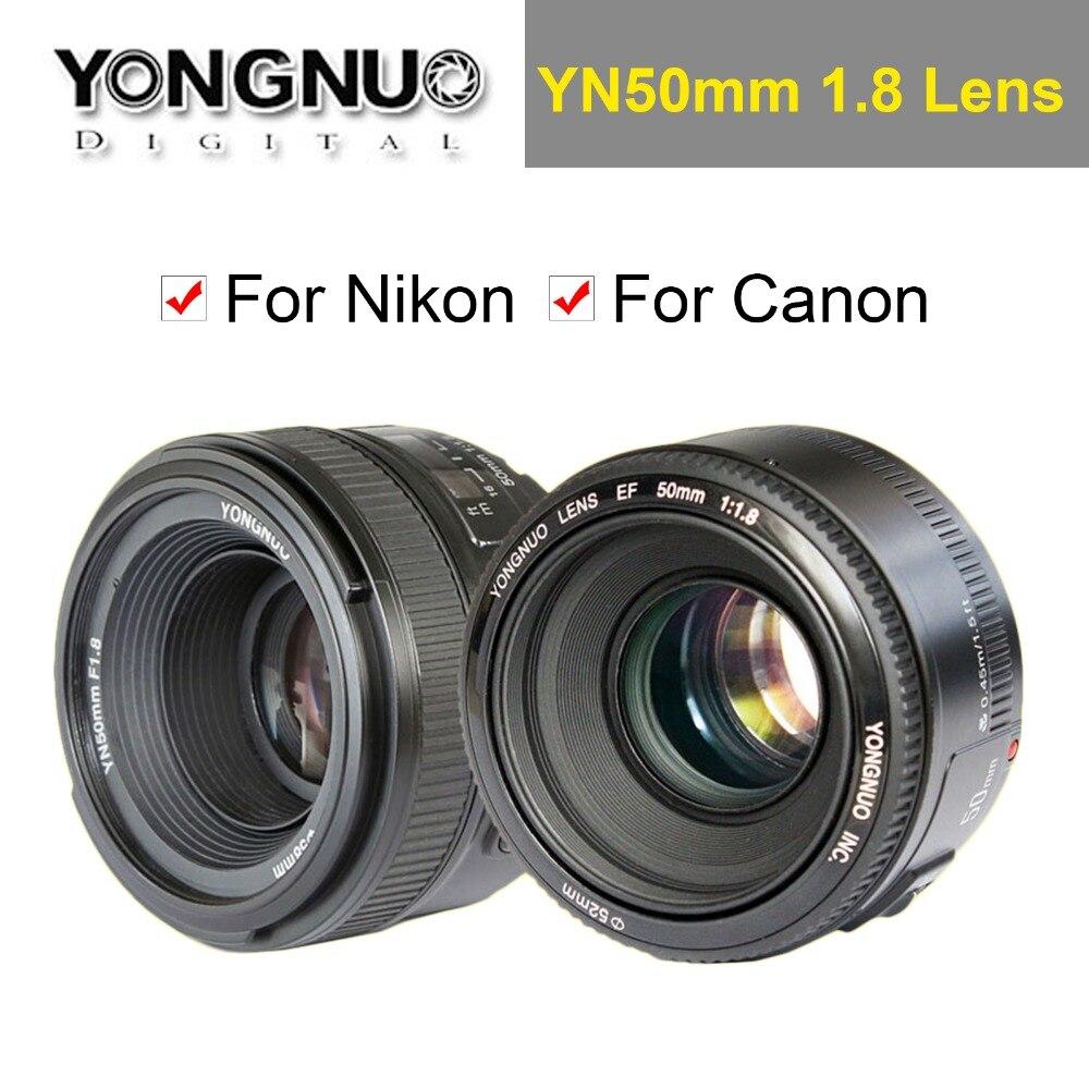 Objectif YONGNUO YN 50mm YN50mm F1.8 objectif fixe AF/MF à grande ouverture pour appareil photo reflex numérique Canon EOS ou Nikon