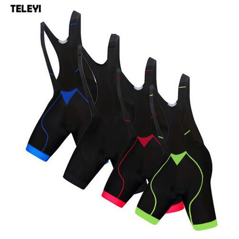 TELEYI Pro Team Cycling Bib Shorts Ropa Ciclismo Outdoor Sports Mens Bib Shorts Bike Bicycle Cycling Shorts Gel Padded 4-Colors